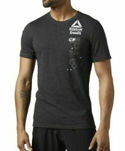 Reebok Mens CrossFit T Shirt - Poly Blend - Dark Grey - S M L XL - RRP £29.95