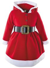 Lilax Little Girls' Holiday Christmas Santa Sparkle Hood Red Dress with Belt 4T
