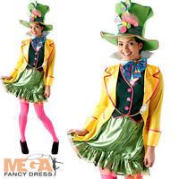 Mad Hatter Ladies Fancy Dress Alice In Wonderland Tea Party Womens Adult Costume