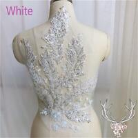 6 Color Elegant Sequin Beaded Embroidery Lace Applique Motif Floral Patches 1 Pc
