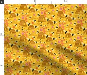 Bees Beehive Gold Flowers Spoonflower Fabric by the Yard