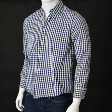 TOM TAILOR Mens Casual Button Down SHIRT Long Sleeve Blue-White Check Medium M