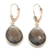 Smoky Topaz Pear Dangle Earrings,14K Rose Gold Leverbacks