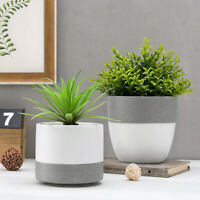MyGift Set of 2 Matte White and Gray Textured Tabletop Ceramic Planter Pots