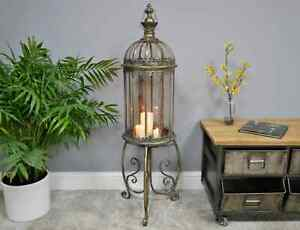 Antique Lantern on Stand Rustic Metal Candle Holder Large Vintage Shabby Chic