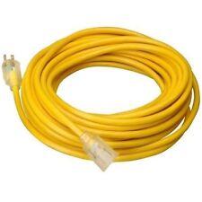 15 Ft 14 Gauge Indoor Outdoor Heavy Duty Power Extension Cord Yellow Ul w/ Light