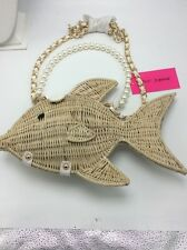 Betsey Johnson Tan Straw Gone Fish W/ faux pearls Crossbody $110  US
