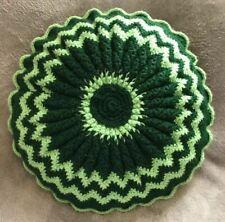 "Vntge Handmade Crochet 15"" Round Bed Couch Throw Pillow Dark/light Green/multi"