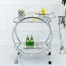 Bailey Contemporary Round Modern Glass Tray Drinks Portable Push Tea Trolley