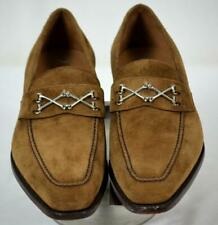 New $850 BARKER BLACK Wolfe Brown Suede w/Crossbone Bits Loafers Shoes 11 D