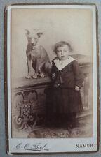Photo Carte de Visite Cdv Enfant et Chien Dog Namur Vers 1880