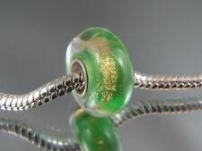 GOLD DUST/GREEN MURANO GLASS BEAD FOR EUROPEAN STYLE CHARM BRACELETS  (MSB 428)