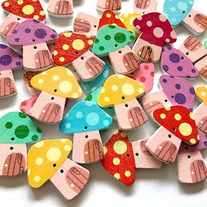 Toadstool Wooden Buttons Novelty Craft Embellishments Cardmaking Scrapbooking