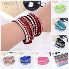 like Crystals 2wrap Around PU Leather Adjustable Bracelet Fashion Hot