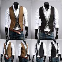 Men Jacket Suit Slim Fit Fashion Vest Casual Business Formal Vest Waistcoat Tops