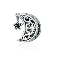 S925 Silver Vintage Crest Moon Hanging Star Openwork Charm by Pandora's Angels