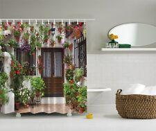 Vintage Retro Old Fashion Door Graphic Shower Curtain Flowers Pots Bath Decor
