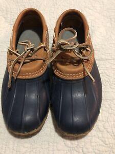 LL Bean Women Original Bean Boots Rubber Moc Duck Shoes Tan Brown USA Made Sz 7