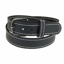 "GM145_Buffalo Leather Belt_1 1/4"" Stitched Belt_Gun Metal Buckle_Amish Handmade"