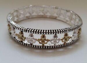 Silver/Gold-tone Filigree Fleur de Lis / Lily stretch bracelet X8-14/22