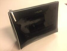 Lancome Paris extra large Cosmetic Makeup Bag black Patent leather pouch case