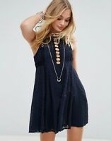 Free People Where Ever You Go Lace Embroidery Navy Skater Mini Dress 8 36 £120