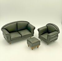 Dolls House Furniture 3 Piece Suite Black Leather Padded Sofa Chair Foot Stool