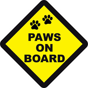 PAWS ON BOARD WARNING SAFETY STICKER Pet/Dogs Sign for car vehicle window body
