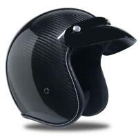 Real Carbon Fiber Motorcycle Helmet Open Face Lightweight Unisex Half 3/4 Helmet