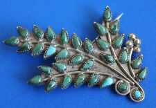 Vintage ZUNI Indian Sterling Silver Petit Point Flower Bouquet Turquoise Pin