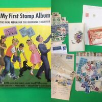 Lot of vintage STAMPS MY FIRST STAMP ALBUM US foreign postcards