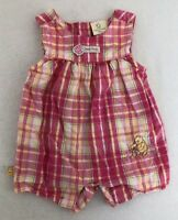 [P11] Disney Classic Pooh Infant Pink Plaid Romper Girls Size 9 Months EUC