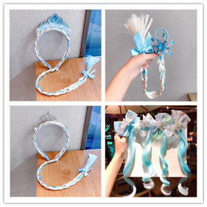 Blue Frozen Elsa Girls Ponytail Hair Extension Party Hair clips Crown Headband