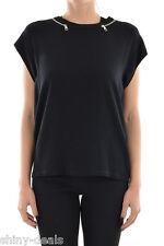 NEIL BARRETT New Woman Black Crewneck Casual Tee Straight T-shirt Zip Sweater S