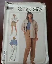 VINTAGE Simplicity Pattern 7860 Pants Shorts Shirt Size 10 - UNCUT