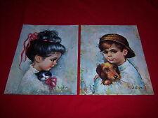 (2) vintage MEDEIROS art prints--1960s BIG EYED KITSCH WAIFS--litho USA--new NOS