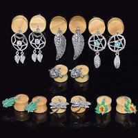 "Dangle Wood Ear Plugs Wooden Flesh Tunnels Beige Bamboo Jewelry 0g-5/8"" Gauges"