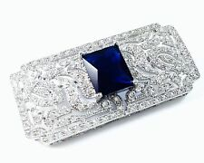 USA BROOCH Crystal PIN Wedding Bridal CZ Cubic Zirconia Sapphire Rectangle Blue