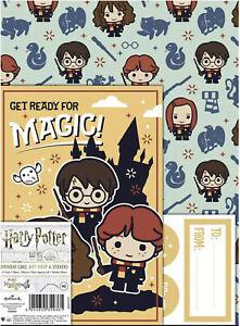 Hallmark Harry Potter  Gift Wrap Sheet & Tag Stickers Birthday Card