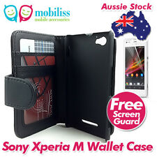 Sony Xperia M Litchi Skin PU Leather Wallet Case Cover Screen Protector Black