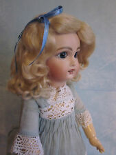 Lettie Light or Dark Blonde mohair wig for antique French / German doll size 7