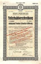 Germany Westphalia Bond 1926 City Stadt Dortmund 1000 swiss francs Uncancelled