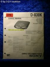 Sony Service Manual D 830k CD Player (#0275)