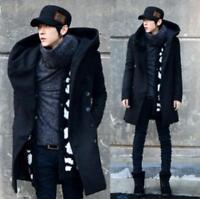 Men Slim Fit Korean Tops Coat Long Jacket Parka Trench Outwear Hooded Wool Blend
