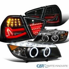 For BMW 06-08 E90 3-Series Black Projector Headlights+Pearl Black LED Tail Light