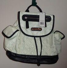 NWT Nicole Miller New York Backpack Purse White Black Shoulder Bag Pocket Straps