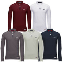 Mens Polo T Shirts Long Sleeve Cotton Collared Knitted Stallion Pique Casual Top