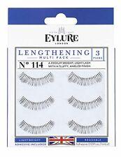 (Multi-Pack 3 PAIRS) Eylure Lengthening #114 False Eyelashes Fake Lashes Black