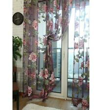 Floral  Voile Window Curtain Door Drape Panel Sheer Valances Assorted Scarf HO3