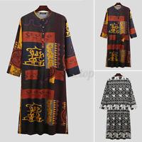 Men's Muslim Saudi Arab Long Sleeve Thobe Kaftan Hippy Kaftan Robe Dresses Shirt
